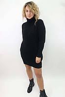 Платье-реглан с хомутом крупной вязки LUREX - черный цвет, L (есть размеры)