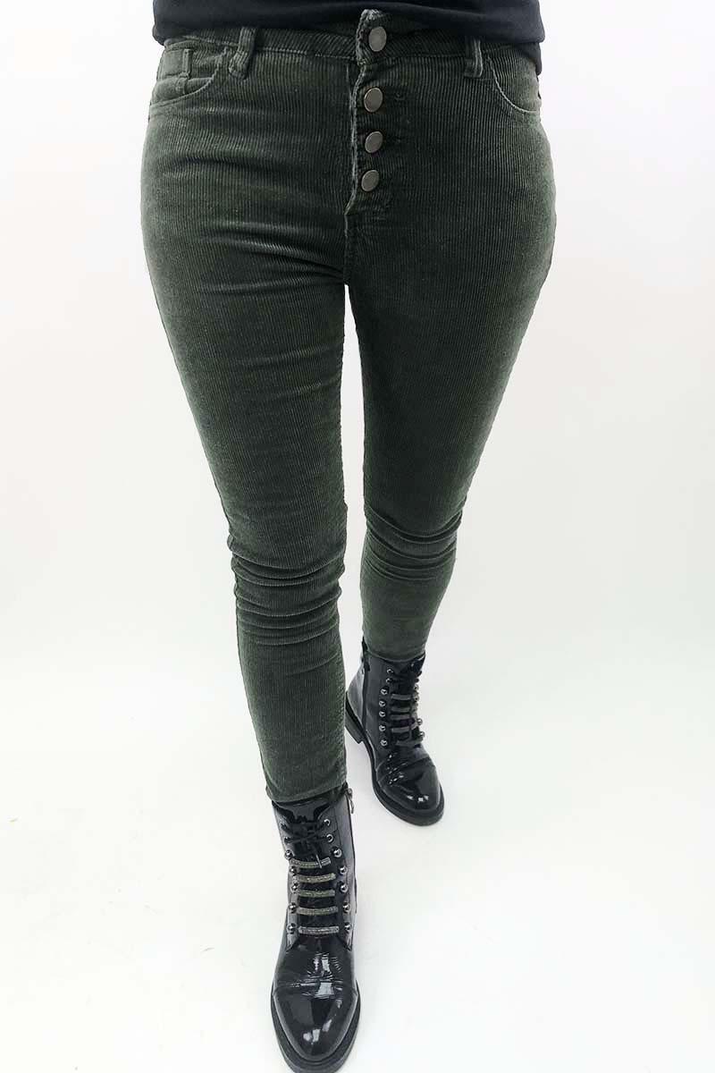 Вельветовые брюки на пуговицах Sangogo - хаки цвет, L (есть размеры)