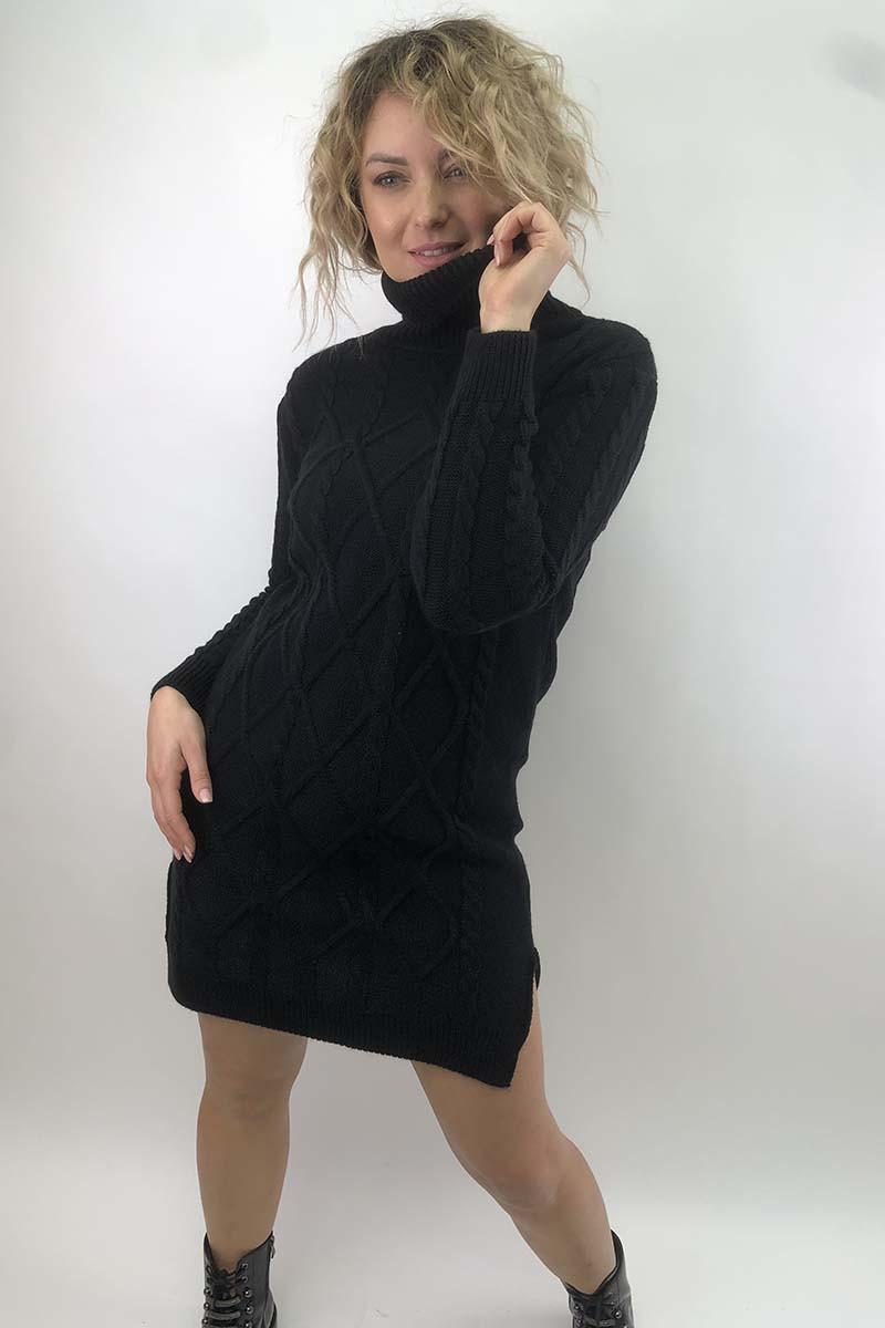 Платье-туника с узором косичек и ромбов LUREX - черный цвет, S (есть размеры)