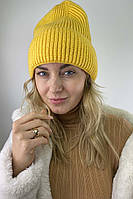 Теплая трикотажная шапка с отворотом LUREX - желтый цвет, L (есть размеры)