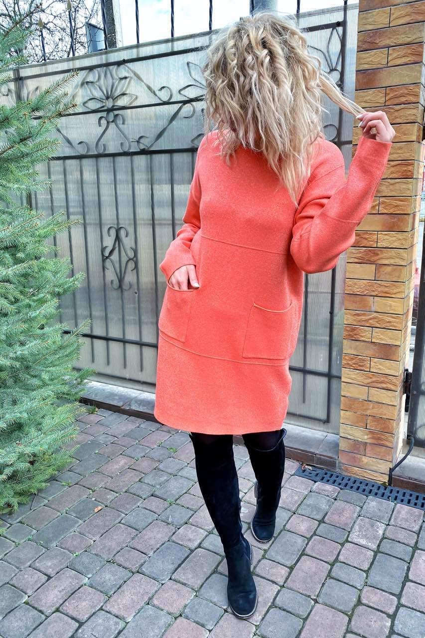 Платье-туника люрекс рубчики и карманы P-M - коралловый цвет, L/XL (есть размеры)