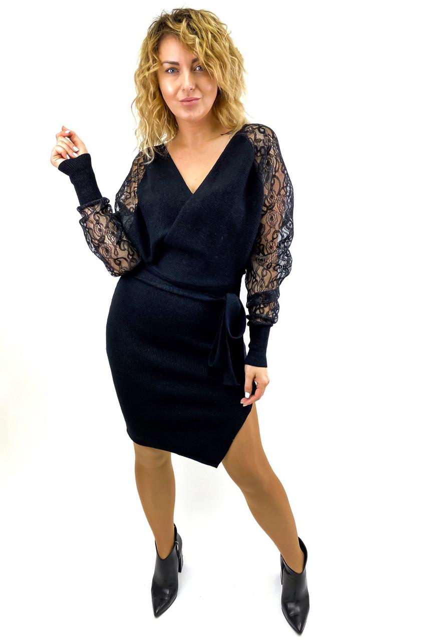 Платье теплое облегающее люрекс ажурные рукава Leatitia Mem - черный цвет, M/L (есть размеры)