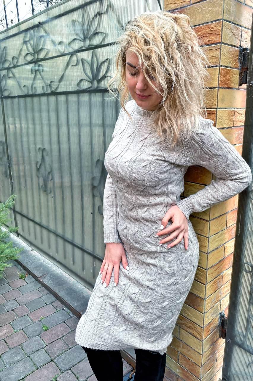 Вязанное платье длины миди с красивой объемной вязкой - кофейный цвет, L (есть размеры)