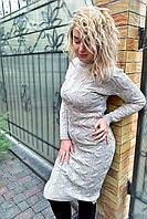 Вязанное платье длины миди с красивой объемной вязкой - кофейный цвет, L (есть размеры), фото 1