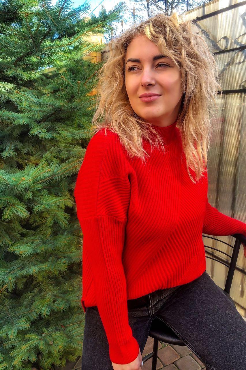 Стильный свитер с геометрическим узором P-M - красный цвет, XXL/XXXL (есть размеры)