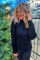 Стильный свитер с геометрическим узором P-M - черный цвет, XXL/XXXL (есть размеры), фото 1