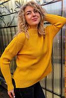 Стильный свитер с геометрическим узором P-M - горчичный цвет, XL/XXL (есть размеры), фото 1