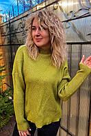 Стильный свитер с геометрическим узором P-M - салатовый цвет, XL/XXL (есть размеры), фото 1