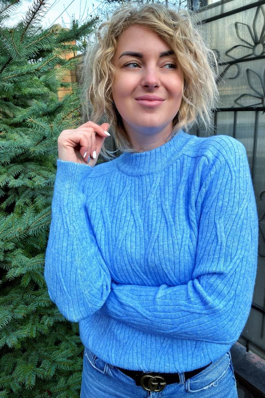 Свитер прямого силуэта с оригинальной вязкой P-M - голубой цвет, XL/XXL (есть размеры)