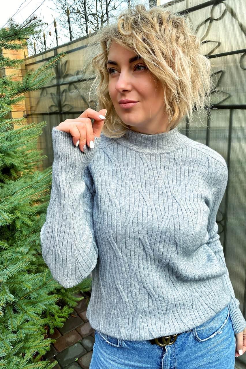 Свитер прямого силуэта с оригинальной вязкой P-M - серый цвет, XL/XXL (есть размеры)