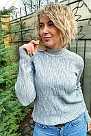 Свитер прямого силуэта с оригинальной вязкой P-M - серый цвет, XL/XXL (есть размеры), фото 1