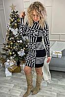 Оригинальное платье футляр с геометрическим рисунком Vinceotto - белый цвет, S/M (есть размеры), фото 1