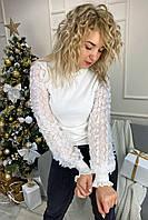 Нарядный свитер с оригинальными объемными рукавами декорированными фатиновой вышивкой и пайетками May - белый цвет, L (есть размеры), фото 1