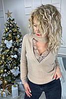 Стильный ангоровый свитер с декольте декорированным французским кружевом  Lovie Look - кофейный цвет, S (есть размеры), фото 1