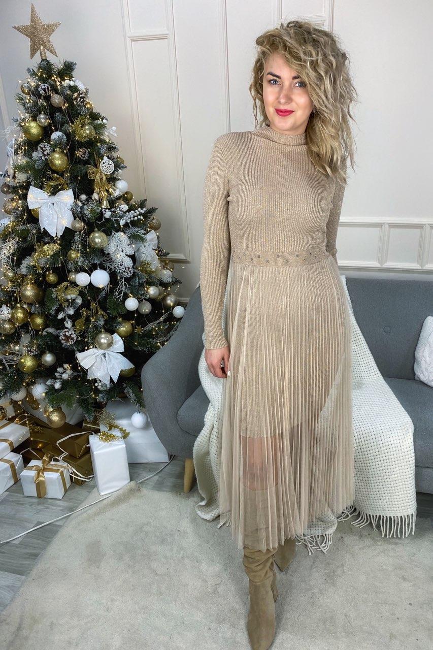 Романтическое облегающее платье из люрекса с фатиновой юбкой декорированное бусинами Jasmine - кофейный цвет, L/XL (есть размеры)