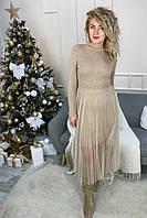 Романтическое облегающее платье из люрекса с фатиновой юбкой декорированное бусинами Jasmine - кофейный цвет, L/XL (есть размеры), фото 1
