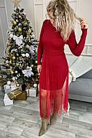 Романтическое облегающее платье из люрекса с фатиновой юбкой декорированное бусинами Jasmine - красный цвет, L/XL (есть размеры), фото 1