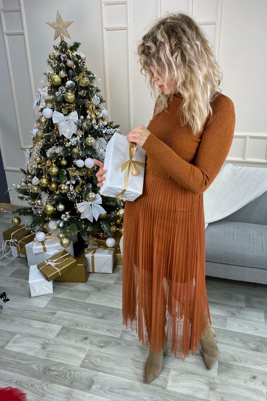 Романтическое облегающее платье из люрекса с фатиновой юбкой декорированное бусинами Jasmine - св-коричн цвет, L/XL (есть размеры)