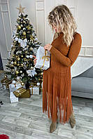 Романтическое облегающее платье из люрекса с фатиновой юбкой декорированное бусинами Jasmine - св-коричн цвет, L/XL (есть размеры), фото 1