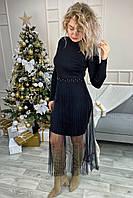 Романтическое облегающее платье из люрекса с фатиновой юбкой декорированное бусинами Jasmine - черный цвет,, фото 1