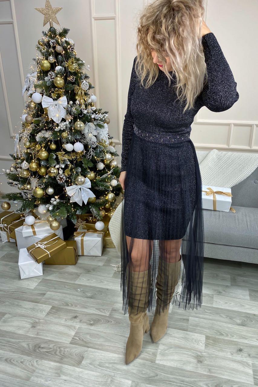 Романтическое облегающее платье из люрекса с фатиновой юбкой декорированное бусинами Jasmine - серебряный цвет, L/XL (есть размеры)