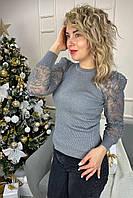 Облегающий джемпер лапша с фатиновыми рукавами  Lovie Look - серый цвет, L (есть размеры), фото 1