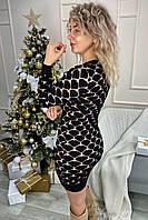 Облегающее платье футляр из трикотажного полотна с объемной вязкой сердечки - кофейный цвет, L (есть размеры), фото 1