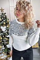 Стильный джемпер декорированный россыпью пайеток May - белый цвет, L (есть размеры), фото 1