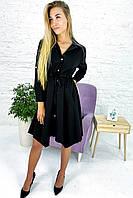 Платье рубашка с ассиметричным низом и завязкой на талии Aiyizu - черный цвет, S (есть размеры), фото 1