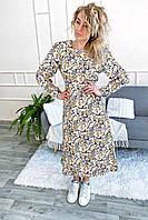 Нарядное платье с цветочным принтом длины миди LUREX - молочный цвет, S (есть размеры), фото 1