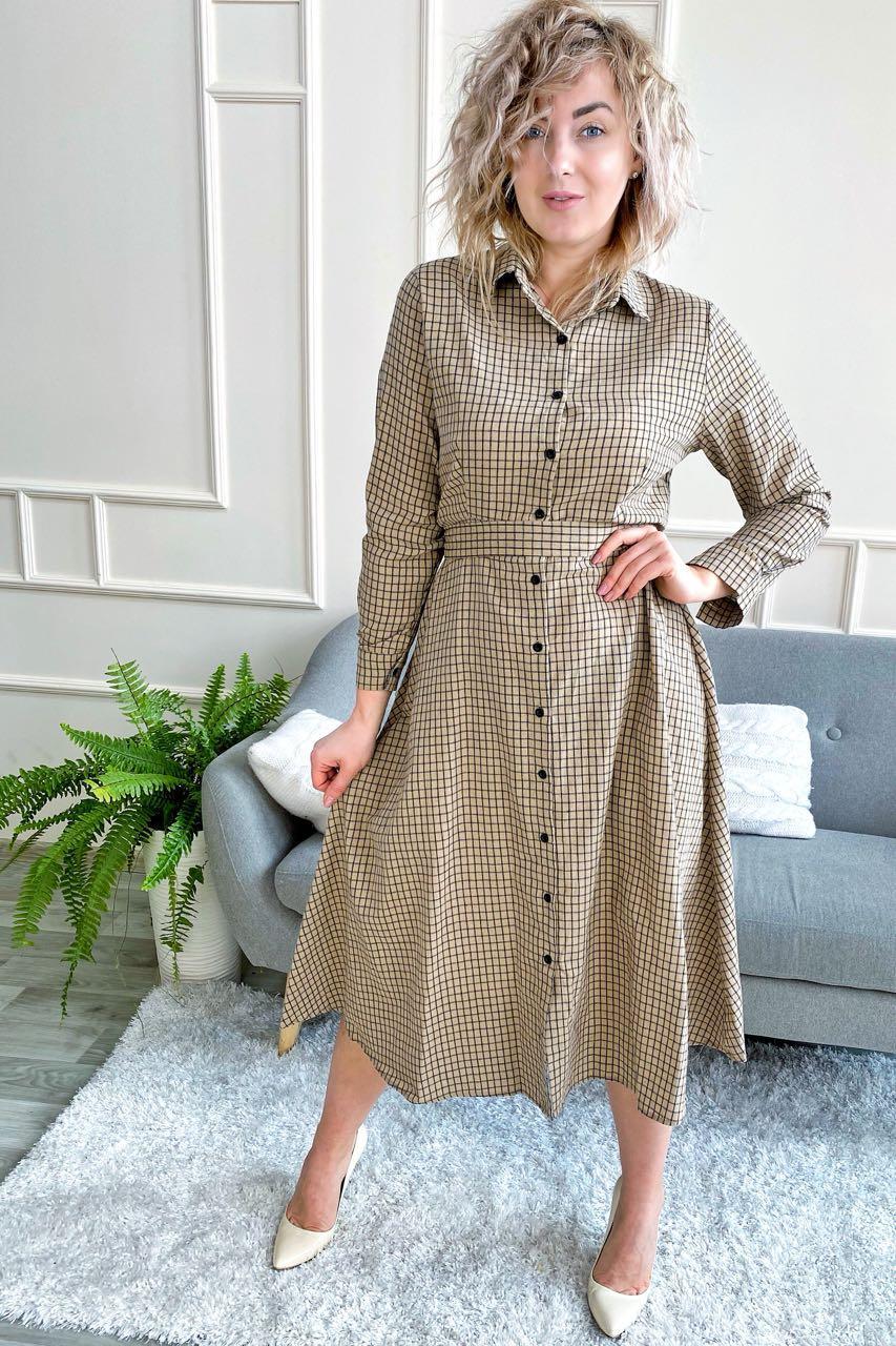Платье рубашка длины миди принт клетка  LUREX - кофейный цвет, L (есть размеры)