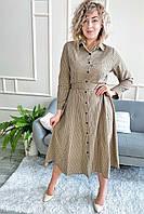 Платье рубашка длины миди принт клетка  LUREX - кофейный цвет, L (есть размеры), фото 1