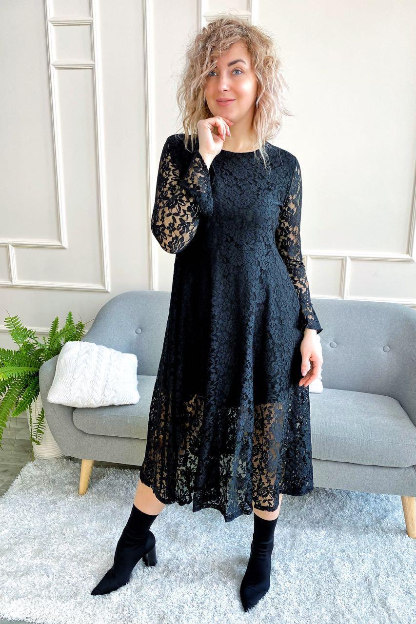 Изысканное ажурное платье миди LUREX - черный цвет, L (есть размеры)