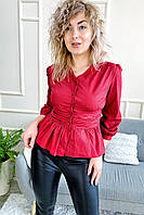Необычная блуза с акцентированной талией и баской YI MEI SI - красный цвет, L (есть размеры), фото 1
