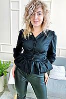 Необычная блуза с акцентированной талией и баской YI MEI SI - черный цвет, L (есть размеры), фото 1