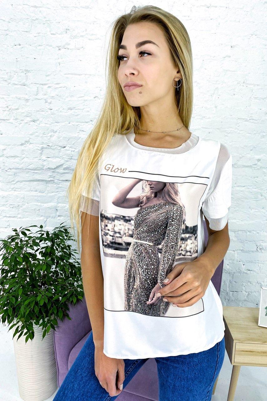 Модная футболка с принтом и вставками из евросетки Crep - белый цвет, M (есть размеры)