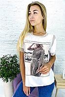 Модная футболка с принтом и вставками из евросетки Crep - белый цвет, M (есть размеры), фото 1