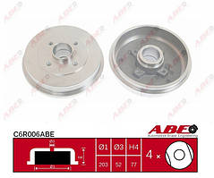 Тормозной барабан (без ABS) 203 мм ABE, C6R006ABE 6001551413, 6001551409