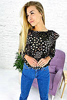 Оригинальная укороченная блуза с рюшами и цветочным принтом Crep - кофейный цвет, M (есть размеры), фото 1