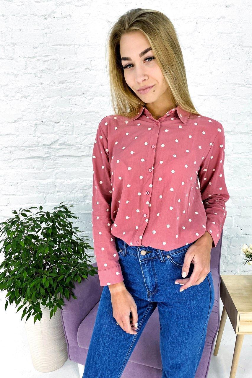 Оригинальная рубашка  с вышитыми горошками Crep - пудра цвет, S (есть размеры)
