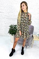 Необычное платье двойка свободного фасона Crep - кофейный цвет, S (есть размеры), фото 1