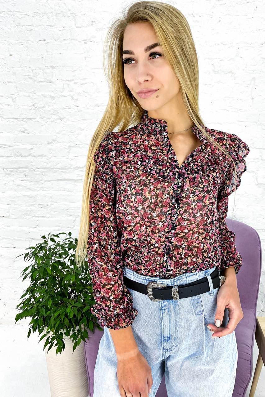 Нежная шифоновая блуза с рюшами Crep - розовый цвет, M (есть размеры)