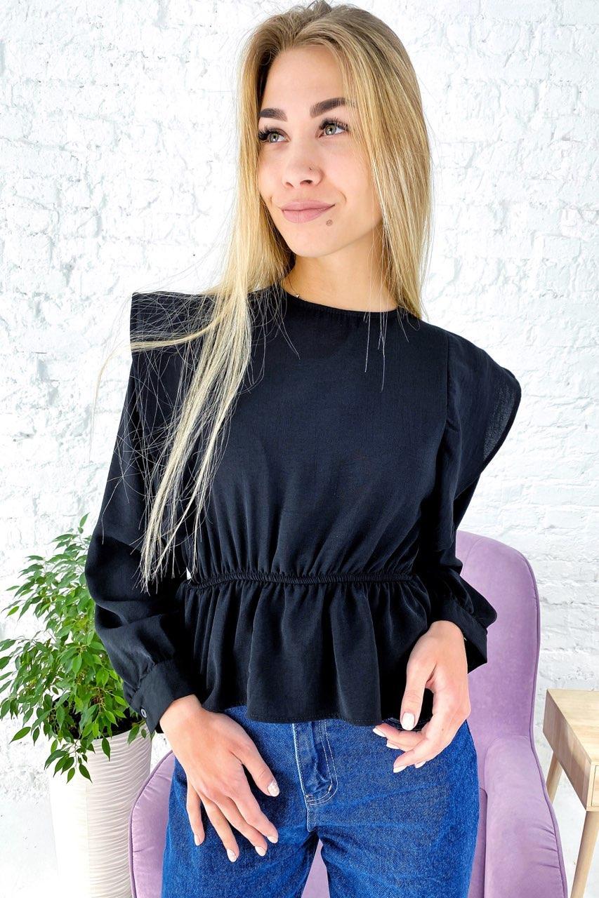 Однотонная блузка с воланами и баской и длинными рукавами Clew - черный цвет, L (есть размеры)