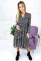 Крепдешиновое платье-двойка со стойкой и рюшами Clew - голубой цвет, S (есть размеры), фото 1