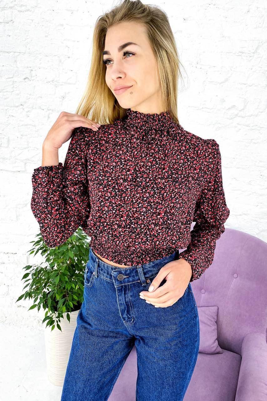 Укороченная блузка с эластичным воротником-стойкой Crep - красный цвет, S (есть размеры)