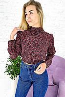 Укороченная блузка с эластичным воротником-стойкой Crep - красный цвет, S (есть размеры), фото 1