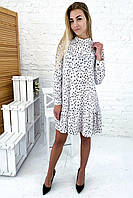 Платье трапеция в горох с оригинальным воротником YARE - белый цвет, L (есть размеры), фото 1