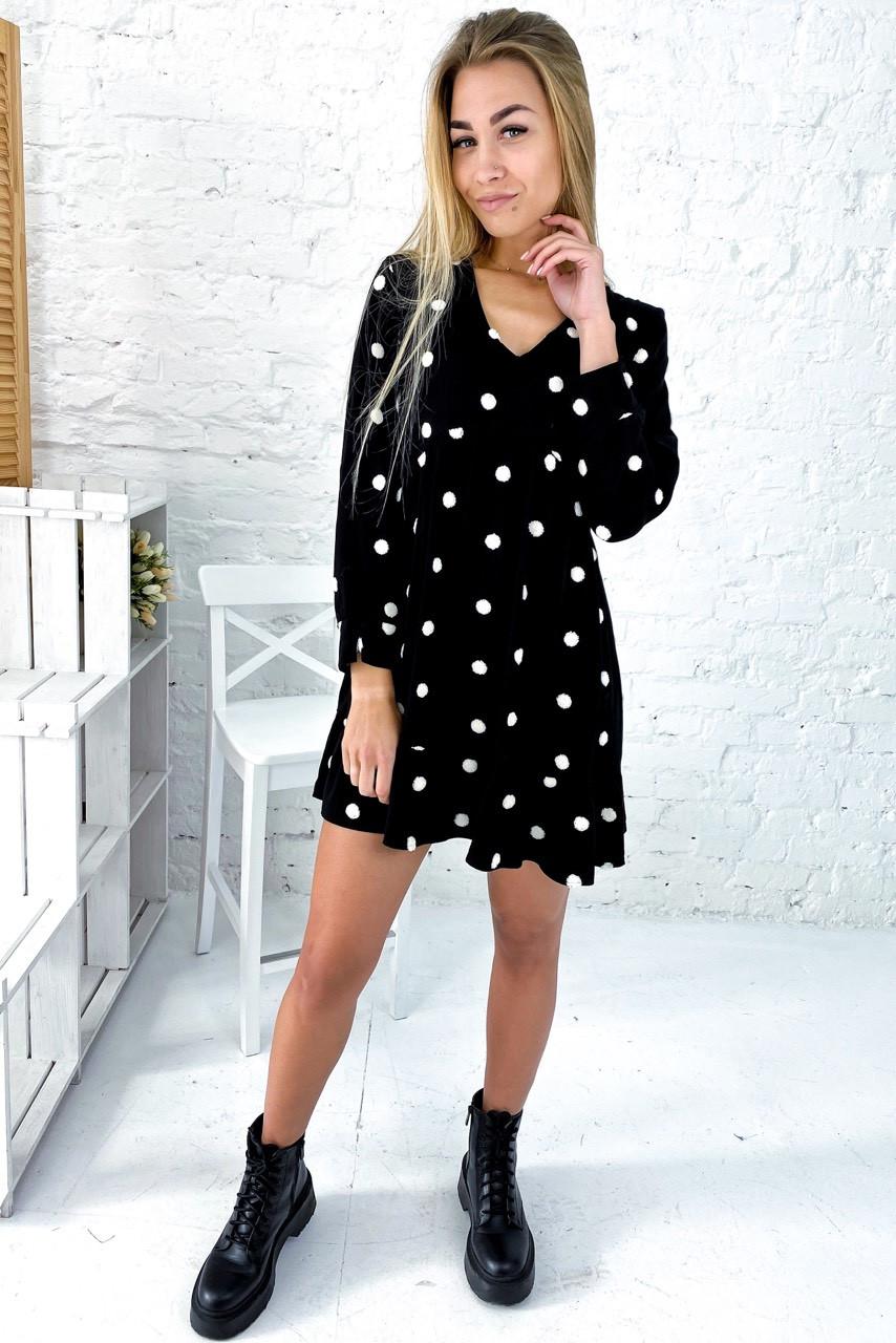 Бесподобное платье с завышенной талией и вышитыми горошками Crep - черный цвет, M (есть размеры)