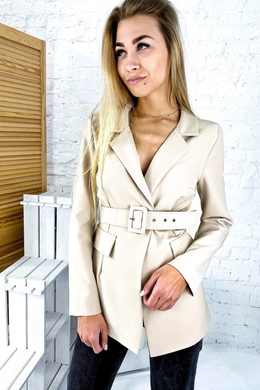 Актуальный пиджак с поясом и отложным воротником YARE - бежевый цвет, XL (есть размеры)