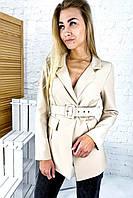 Актуальный пиджак с поясом и отложным воротником YARE - бежевый цвет, XL (есть размеры), фото 1